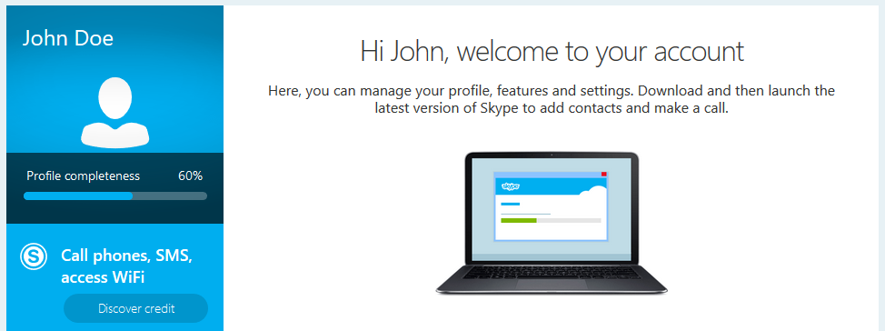 Create a Skype account: Welcome