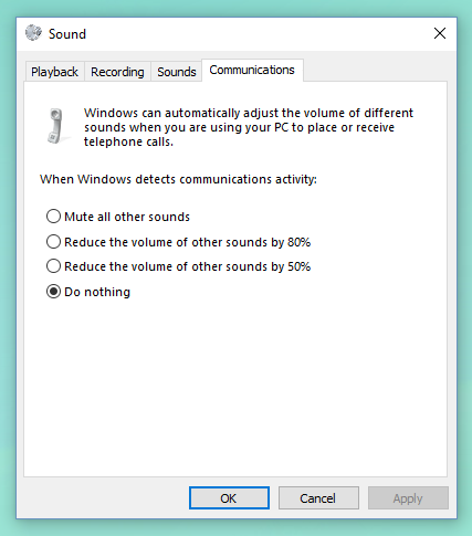 Disable Skype sound reduction