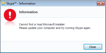 Cannot find or load Microsoft Installer while installing Skype
