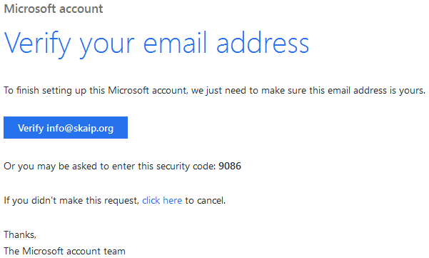 Finish setting up this Microsoft account