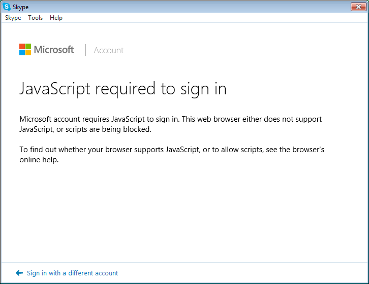 JavaScript required to sign in to Skype