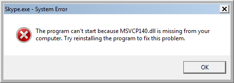The program can't start because MSVCP140.dll is missing from your computer