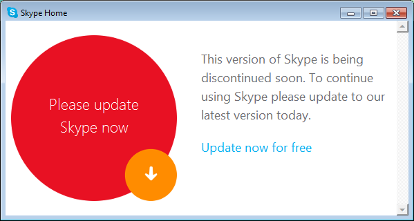 This version of Skype is being discontinued soon