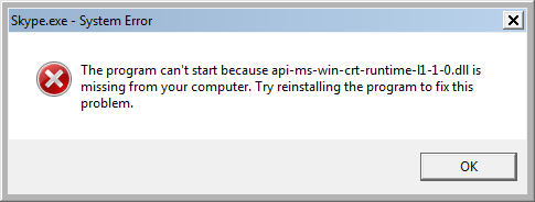 The program can't start because api-ms-win-crt-runtime-l1-1-0.dll is missing from your computer