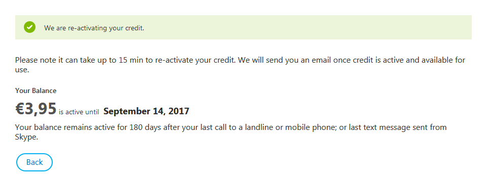 We are re-activating your credit