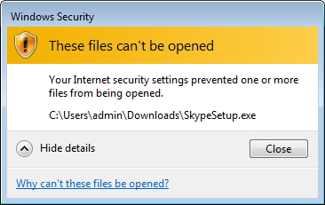 Internet security settings prevented file from being opened