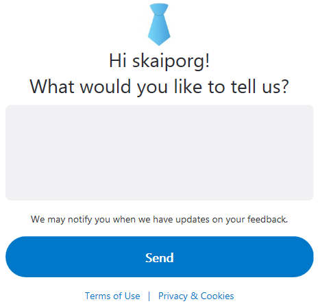 Send feedback to the Skype developers