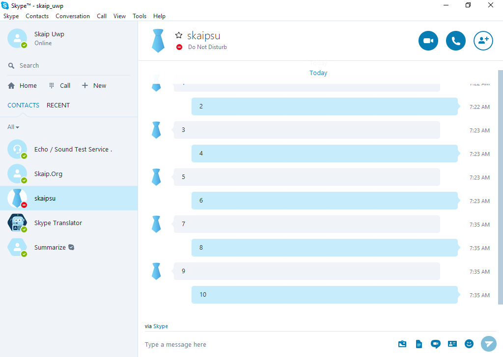 Interface of the Classic Skype