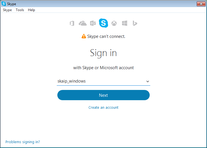 Skype can't connect