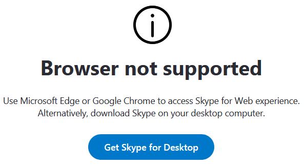 Skype for Web on Windows XP and Windows Vista